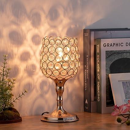 Amazon.com: HAITRAL Lámpara de mesa de cristal dorado – Mini ...