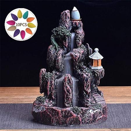 con 10 coni in omaggio Style 1 a cascata in ceramica Bruciatore per incenso grande