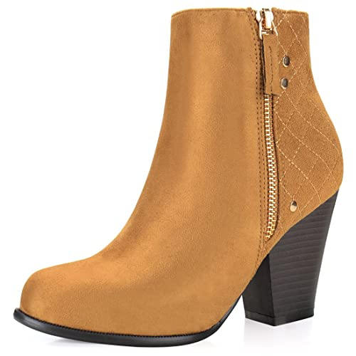 7cd9b25a2f67 Allegra K Women s Quilted Stacked Heel Zipper Ankle Booties (Size US 5.5)  Camel