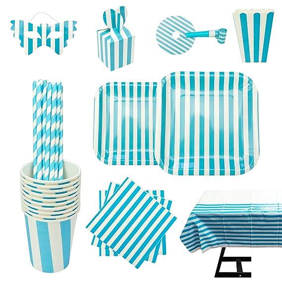 cotigo Set de Vajilla Desechables para Fiesta de Cumpleaños,para 16 Personas,Diseño Rayas,Color Azul