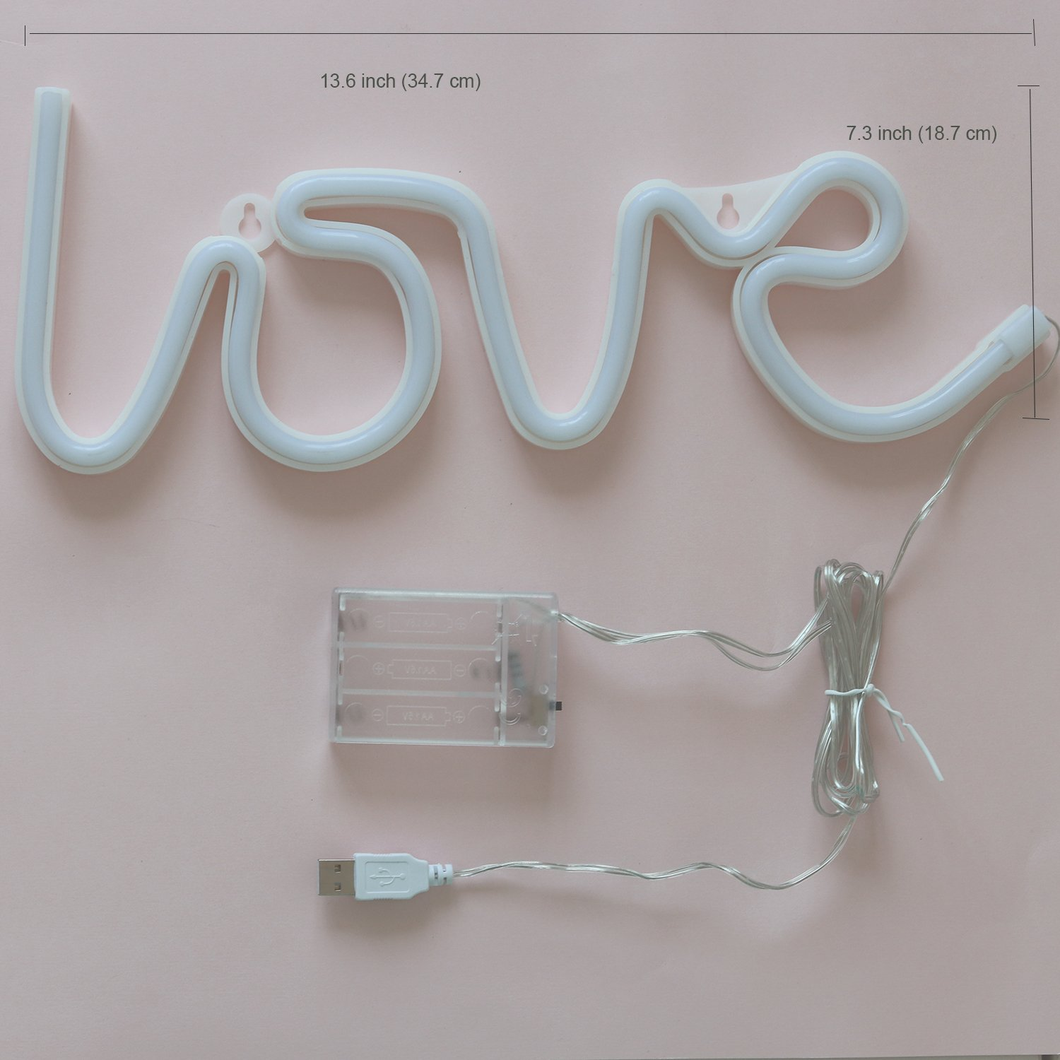 Neon Signs Love Letters Pink LED Decorative Night Light for Bedroom Wall décor Light for Wedding Valentine's day Pub Battery Operated and USB Powered Neon Light(NELOV) by VagaryLight (Image #6)