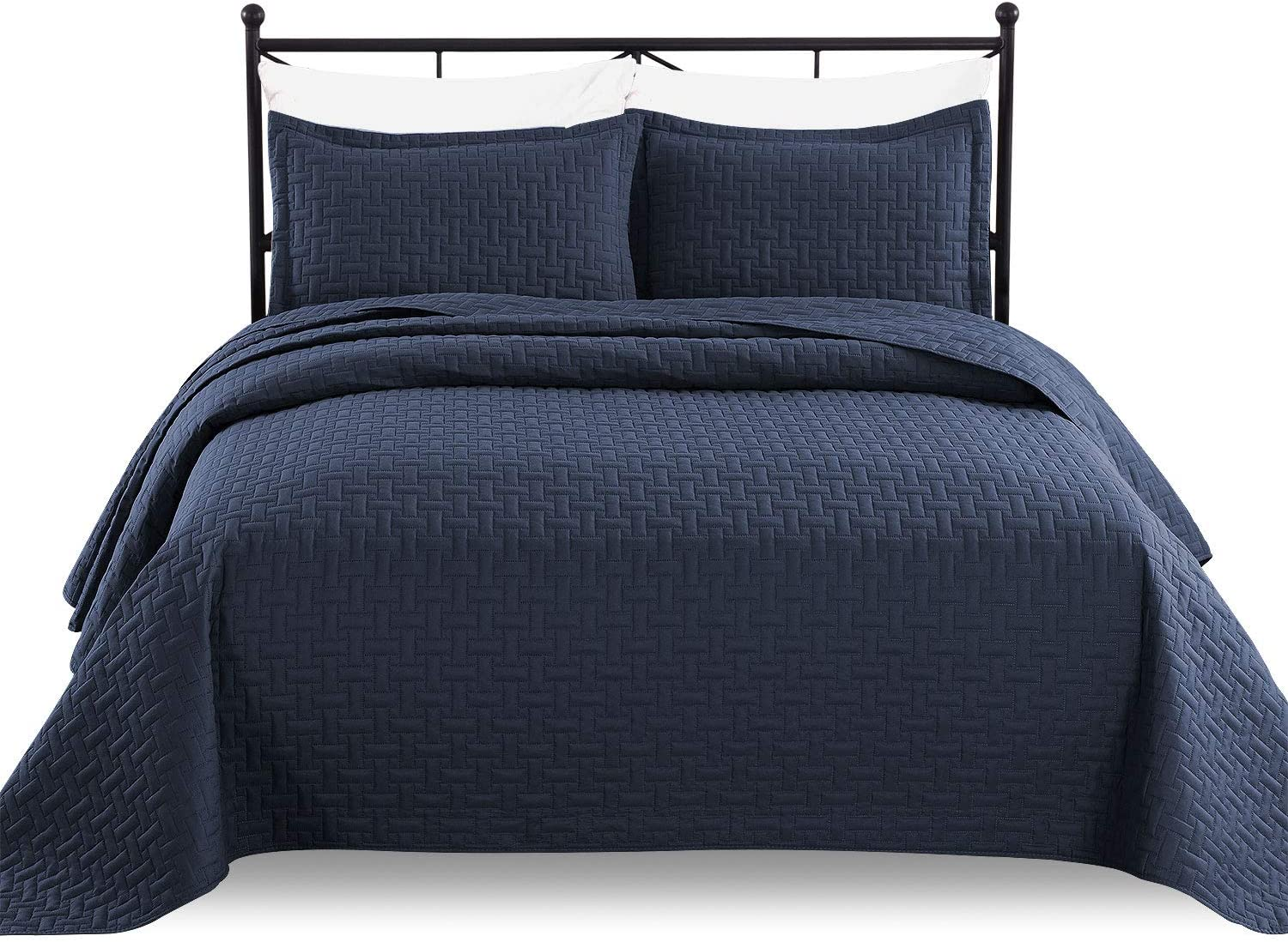 Luxe Bedding 3-piece Oversized Quilted Bedspread Coverlet Set (King/CalKing, Navy Blue)