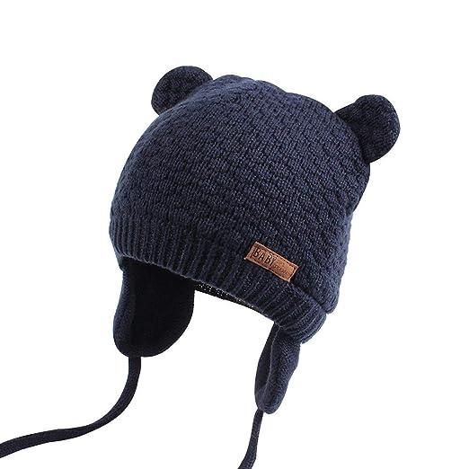 Macvise Baby Hat Cute Beanie Earflaps Hat Infant Toddler Girls Boys Soft  Warm Knit Hat Kids b744eedd65c8