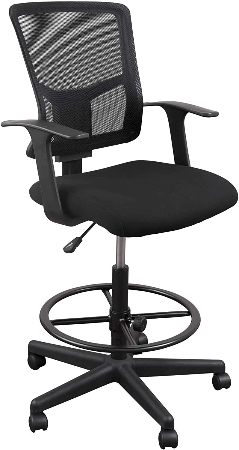 """35/"""" UTRAHOME Office Drafting Chair Footrest Swivel RED ARM Chair Adjustable Height with Ergonomic High Back Mesh Breathable Wide Seat for Office and Home 26/"""""""