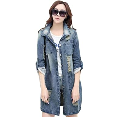 Jeff Tribble Women Denim Jacket Fashion Hole Casual Ripped Long Sleeve Coat Outwear Plus Size S
