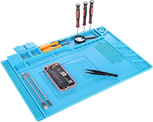 Anti-Static Soldering Mat, YUMQUA Magnetic Project Mat 11 x 17 inch Silicone Heat Resistant Insulation Solder Mat Pad Welding Repair Tools Kit for Soldering Iron, Watch, Phone and Computer Repair