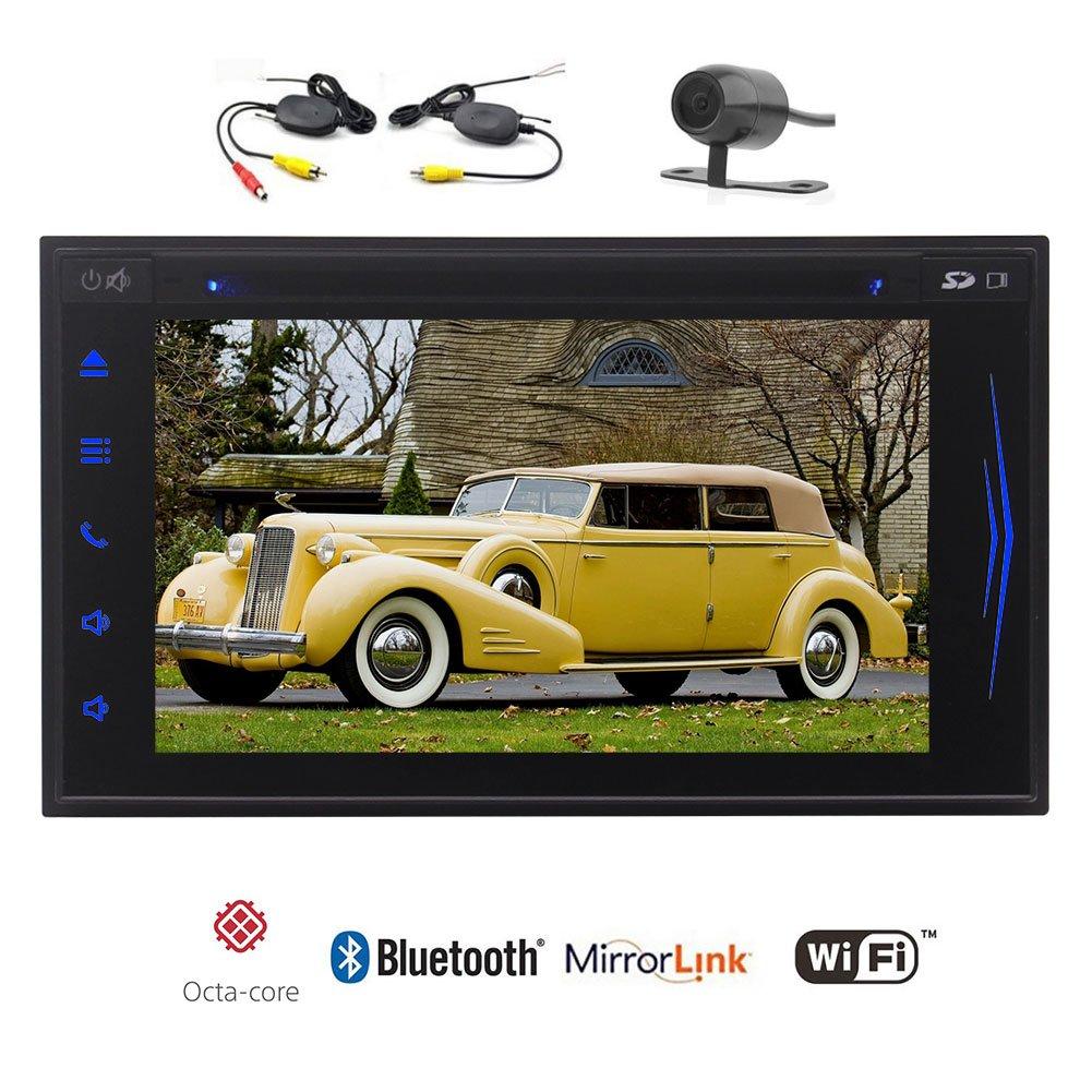 ワイヤレスバックアップカメラとGPSナビゲーションカーDVDプレーヤーオクタコア/ブルートゥース/無線LAN /エアプレイ/ 1080PビデオとEinCarダブルディン6.2「」ダッシュステレオでのAndroid 7.1のカーステレオHD容量性スクリーン B075XLJQSZ