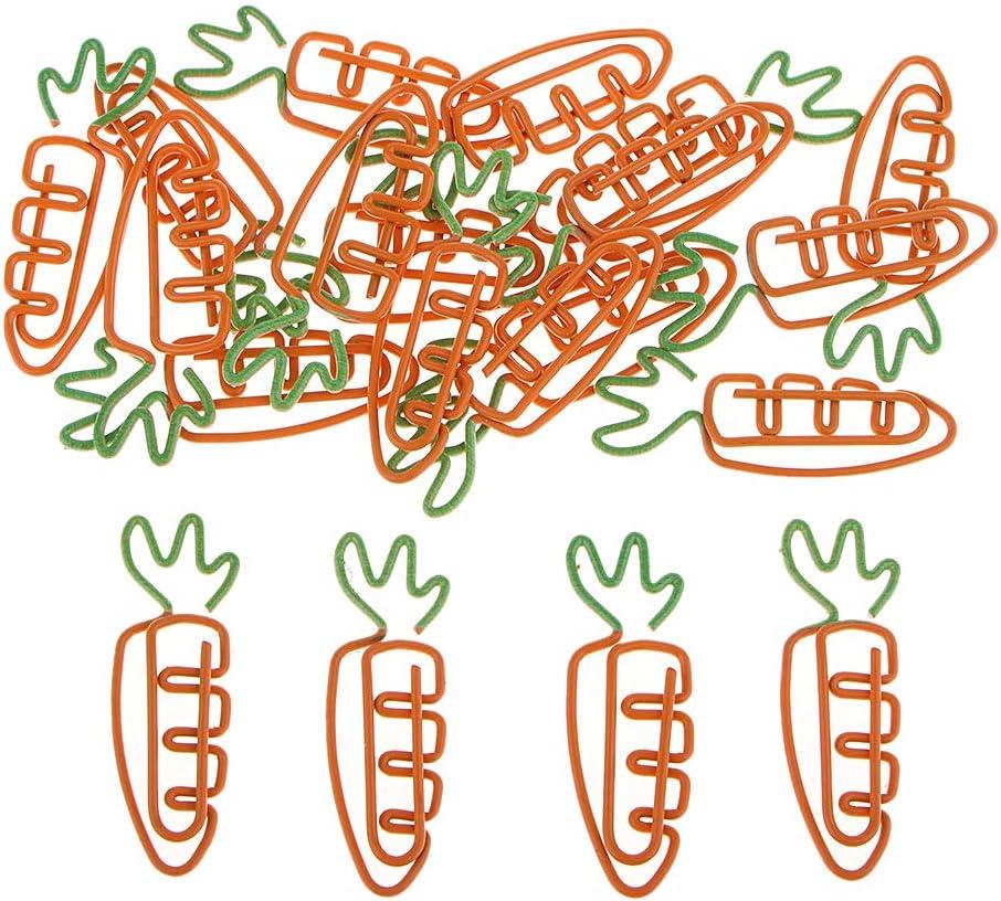 20 Pack Niedlich Karottenform Papierclip Deko B/üroklammern Motiv Heftklammern