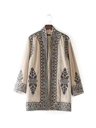 Rhouqujinh Coat Women Kimono Style Velvet Jacket Chaquetas Khaki S