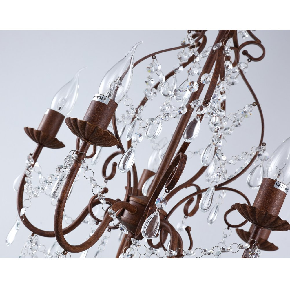 Aero Snail 5-Light Candle Chandelier Country Painting Crystal Lighting Fixture
