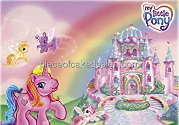 1 4 Sheet My Little Pony Castle Birthday Edible Image Cake Cupcake