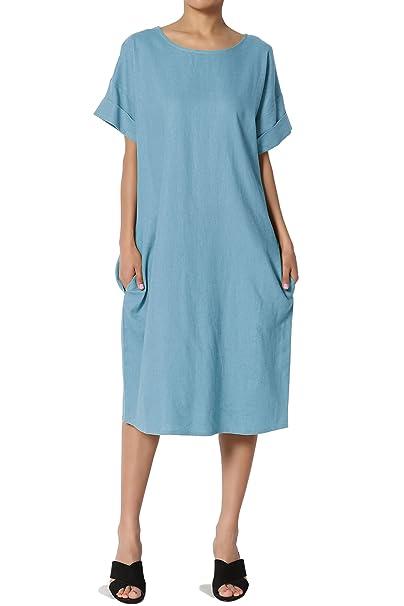 f255f906ba4 TheMogan Women s Short Sleeve Linen Pocket Oversized Shift Midi Dress Ocean  Blue S