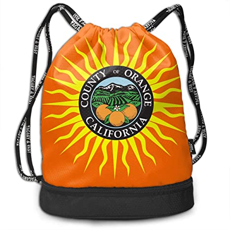 YyTiin Flag Of Orange County California Unisex Waterproof Drawstring  Backpack Sports Dance Storage Bags Sackpack Gym