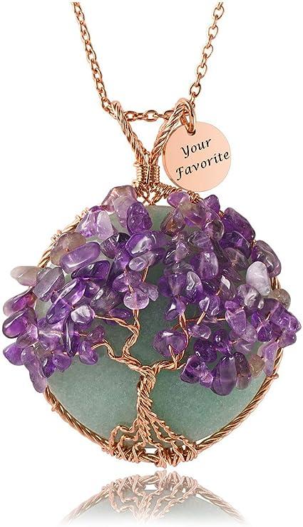 Purple Amethyst Tree Stone Pendant