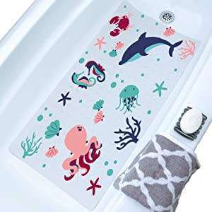Bathtub Mat for Kids, Toddler, Baby and All The Family, Bath Mat for Tub, Sea Cartoon Design Octopus, Dolphin, Seahorse and Crab, 32x20, XL Size, Machine Washable, Anti-Slip