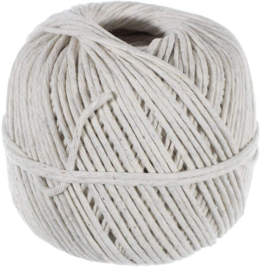 Golberg Polished Cotton Twine - Cooking, Gift Wrapping, and More - Food Safe - Made in The USA - (2.5mm x 345 Feet)