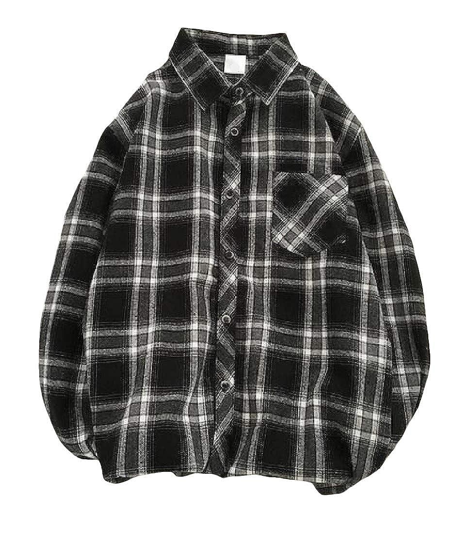 Hajotrawa Men Casual Long Sleeve Buffalo Button-Down Check Shirts