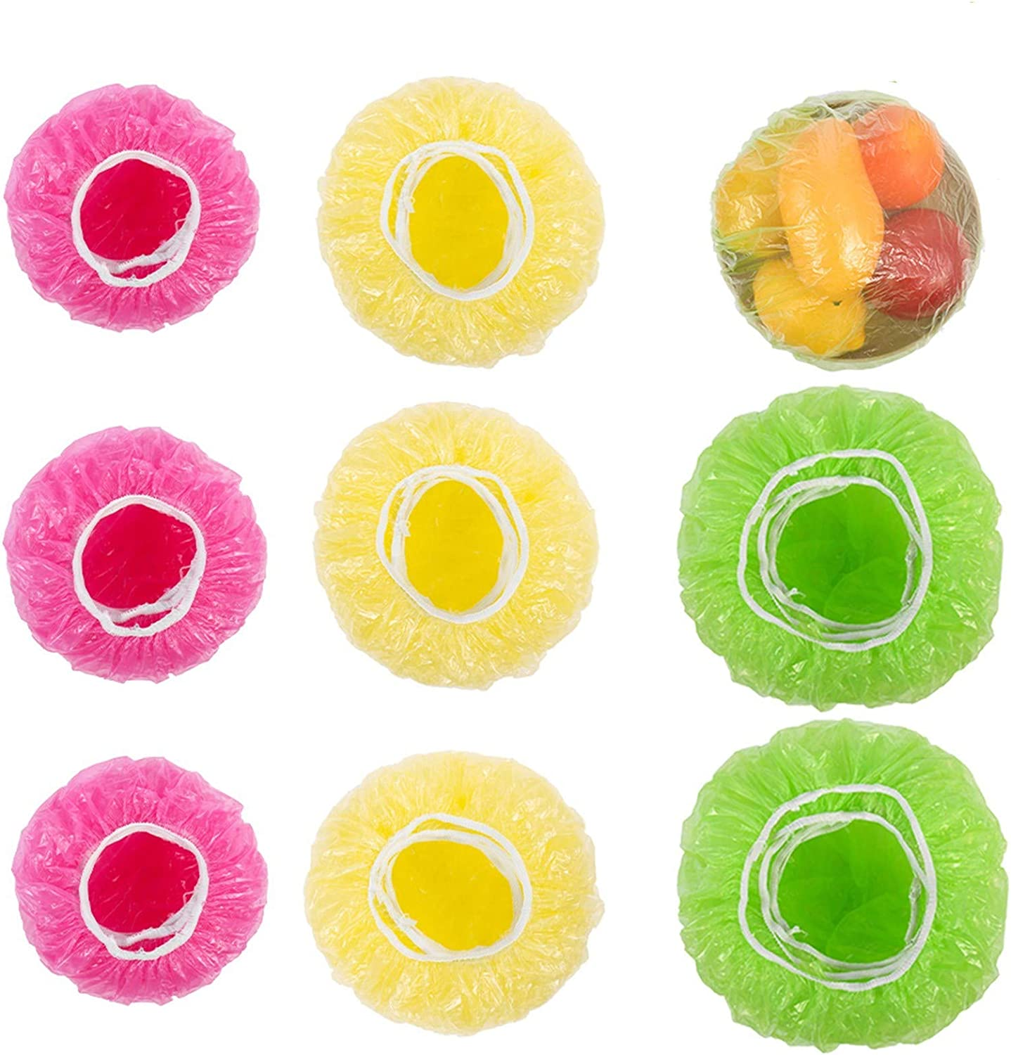 KINAKE 90 PCS Elastic Food Storage Covers Reusable Colorful Bowl Covers Dish Plate Plastic Covers for Family Outdoor Picnic