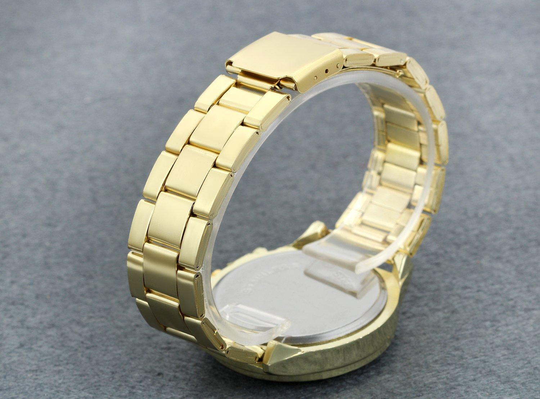 Men's Luxury Bling Double Dual Rhinestone Bezel Japan Quartz 30M Waterproof Gold Tone Bracelet Cuff Bangle Dress Unisex Watch (Gold) by Lancardo (Image #3)