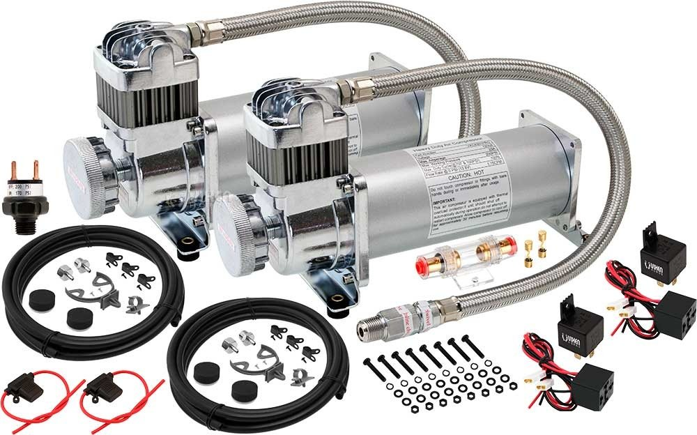 Vixen Horns 200 PSI Heavy Duty Suspension/Bag/Train Horn Dual Pack Air Compressor with 3/8 NPT Stainless Steel Braided Hose 12V VXC8301PRODP