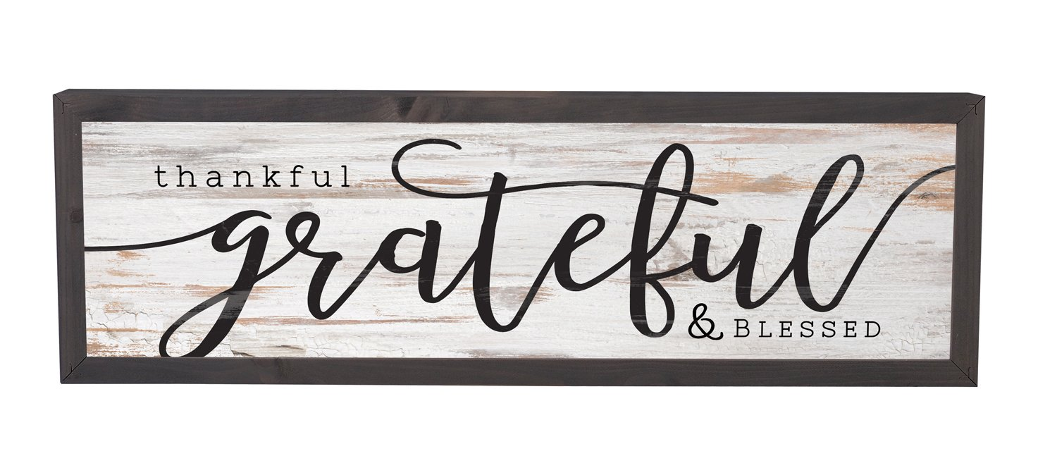 Thankful Grateful Blessed Grey White 25 x 8 Inch Solid Pine Wood Farmhouse Frame Wall Plaque