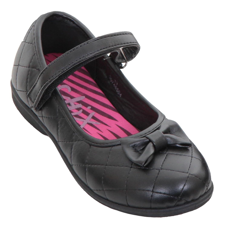 Fantasia Boutique enfants filles rentrée scolaire élégant matelassé noeud simili cuir fin lanière chaussures plates