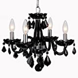 "Worldwide Lighting Clarion Collection 4 Light Chrome Finish and Black Crystal Chandelier 16"" D x 12"" H Mini"