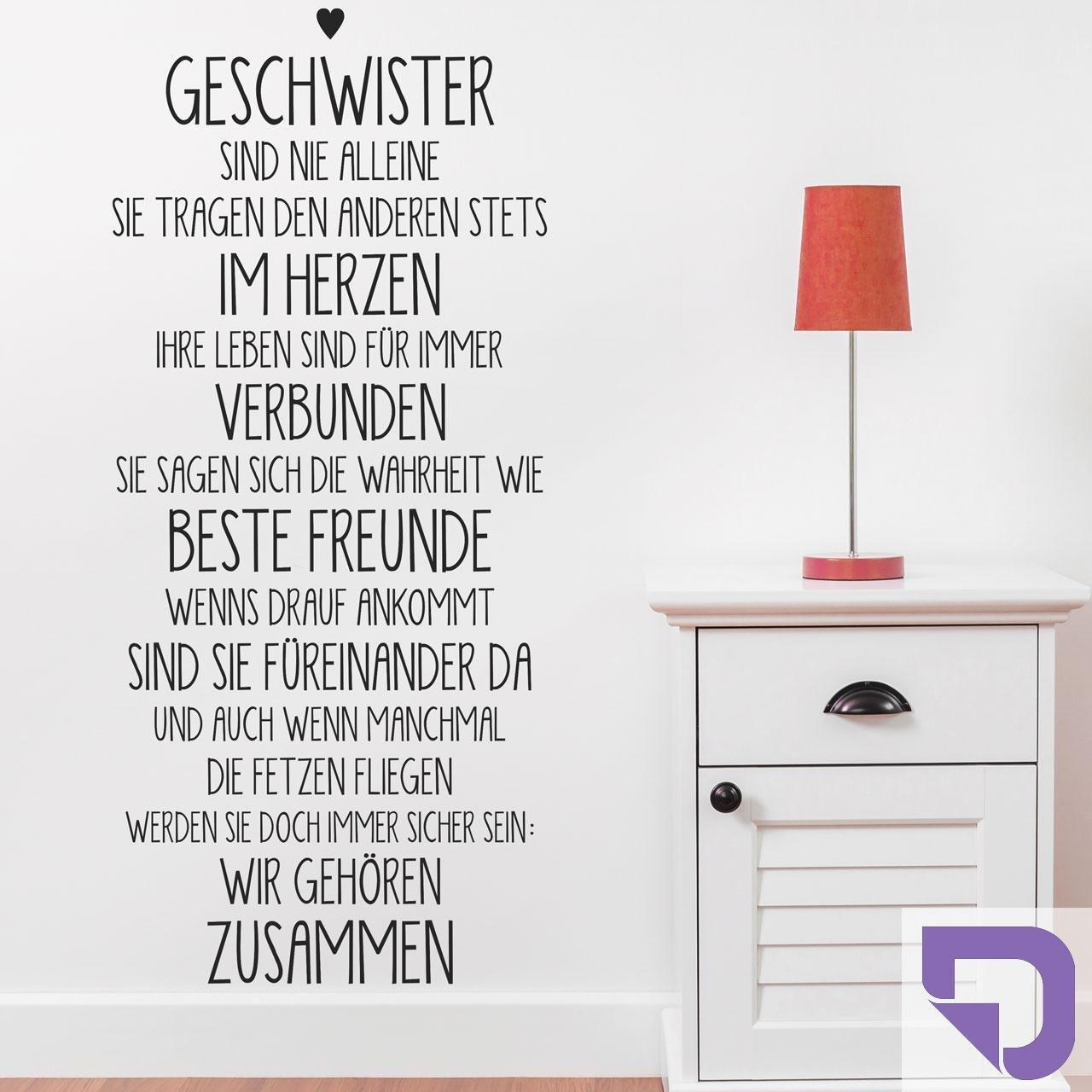 DESIGNSCAPE® Wandtattoo Geschwister     Spruch Geschwisterliebe 58 x 140 cm (Breite x Höhe) dunkelgrau DW801594-M-F7 94c399