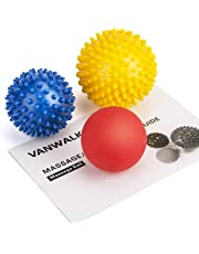 VANWALK Spiky Massage Ball and Lacrosse Balls - 3 Pack - Foot/Back/Neck/Hand Tissue Massage and Yoga Massager Tools - Improve Reflexology, Myofascial Release, Plantar Fasciitis Pain Relief