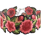 Wink Gal Women's Boho Flower Choker Necklace With Embroidered Delicate Fashion Jewelry