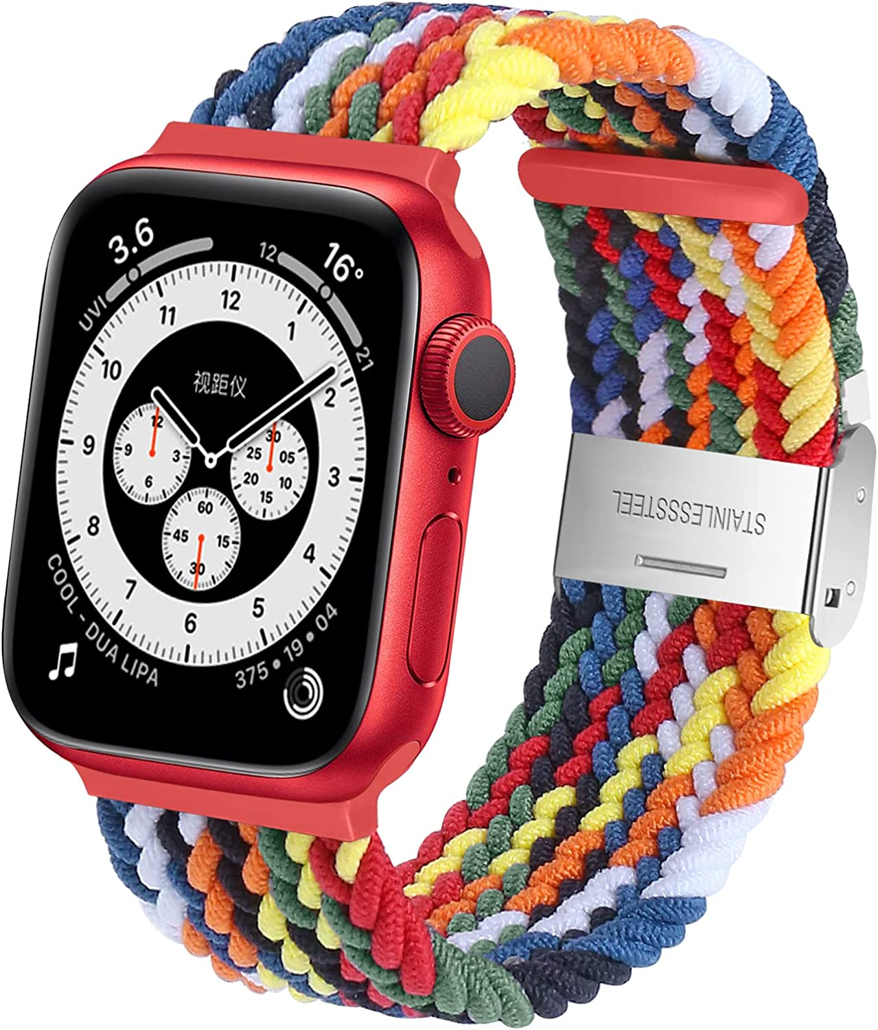 Neoxik Braided Sport Compatible with Apple Watch Bands 44mm 42mm 40mm 38mm,Breathable Adjustable Nylon Loop with Buckle Elastic Bands for Apple watch SE Series 6 5 4 3 2 1