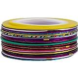 SODIAL(R) 20 pcs nail Striping Tape Tips D¨¦coration Sticker manucure Autocollant couleur al¨¦atoire