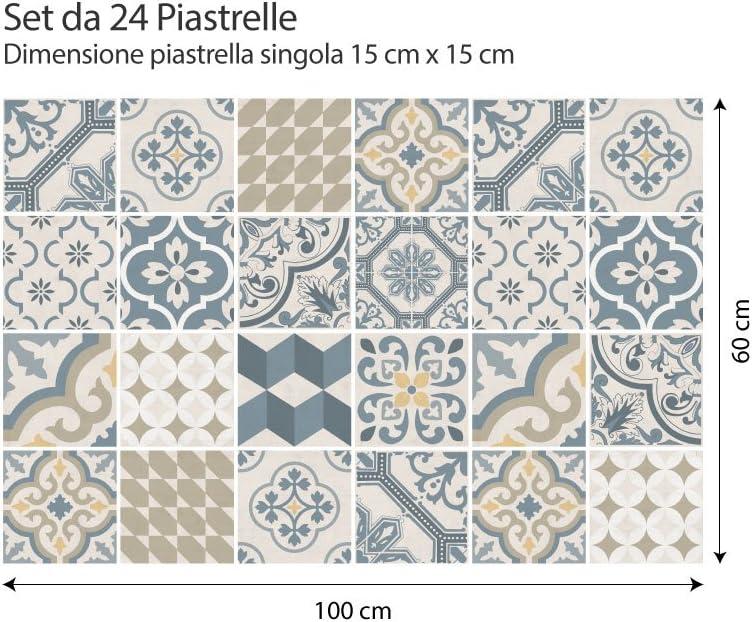 PS00086 Stickers Azulejos Piezas Agadir Adhesivo para Azulejos 20x20 cm Adhesivo Decorativo para Azulejos para ba/ño y Cocina 15 Collage de Azulejos
