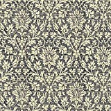 HaokHome 631394 Distressed Damask Peel and Stick Wallpaper Black/Cream Self Adhesive Contact Paper