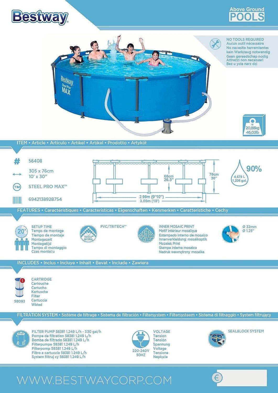 Bestway Steel Pro Max Pool Set 305x76cm Stahlrahmenpool