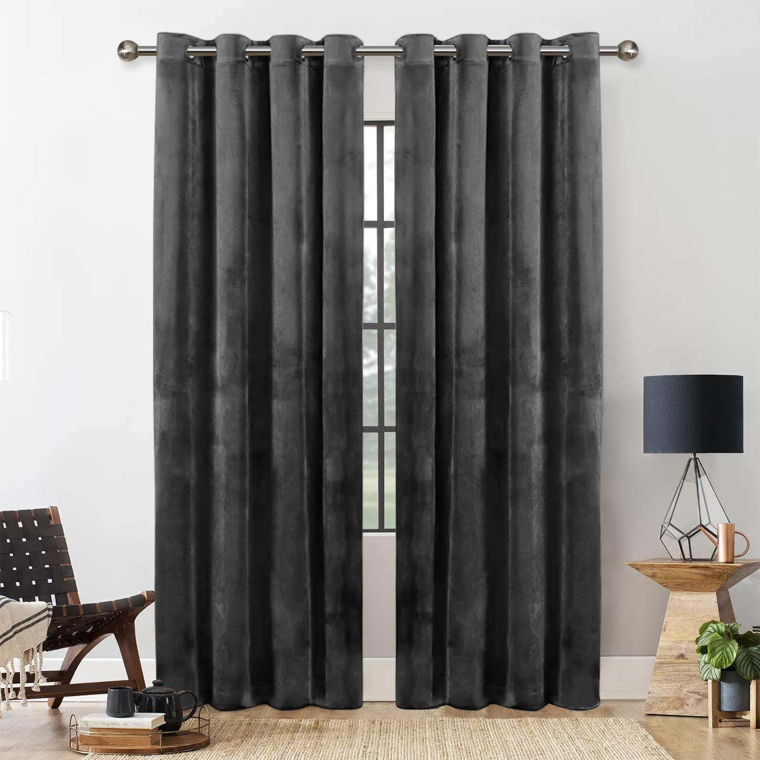 Yorkshire Bedding Blackout Curtains Room Darkening Eyelet Crushed Velvet Curtains For Living Room Pair Panels Fully Lined Window Curtains + Tie Backs (Grey, 46″ x 54″ (116cm x 137cm)) Grey 46″ x 54″ (116cm x 137cm)