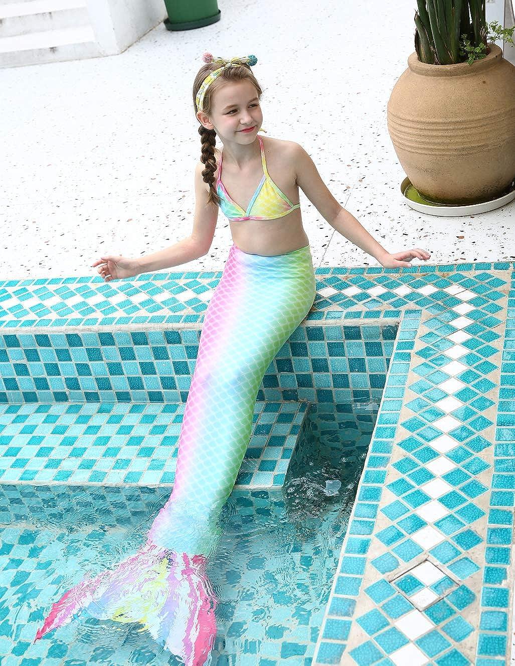 LEINASEN Girls Bikini Swimsuits with Mermaid Tail Fairy Kids Bathing Suits No Monofin