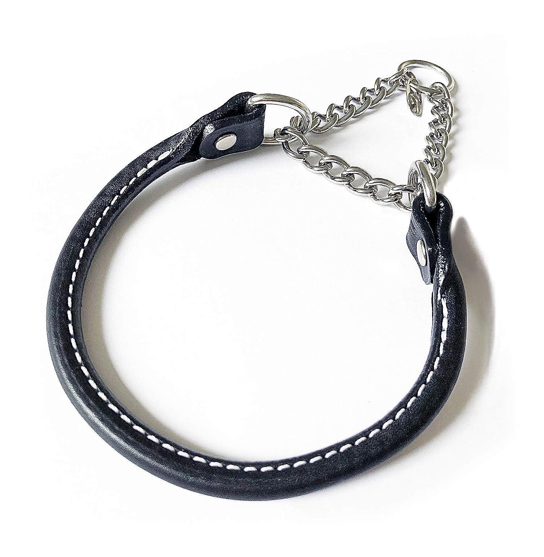 BLACK 1\ BLACK 1\ Leather Martingale Dog Collar Rolled 26 Black