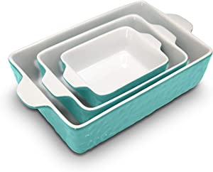 3-Piece Nonstick Ceramic Bakeware Set - PFOA PFOS PTFE Free Baking Tray Set w/ Odor-Free Ceramic Non-stick Coating, 446°F Oven Safe Microwave/Dishwasher Safe Rectangular Baking Pan - NutriChef NCCREX3