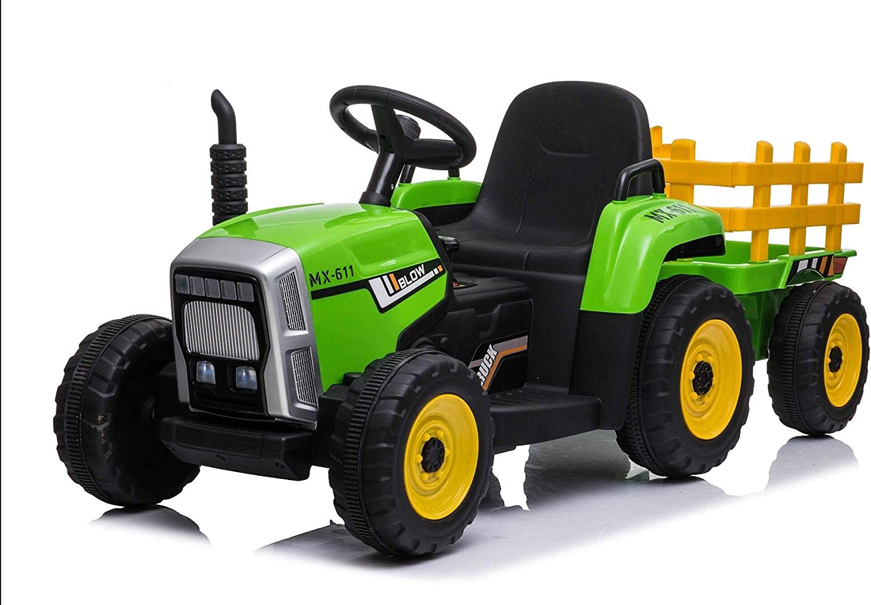 RIRICAR Tractor eléctrico Workers con Remolque, Verde, tracción Trasera, batería de 12V, Ruedas de Plástico, Asiento Ancho de Plástico, Control Remoto de 2,4 GHz