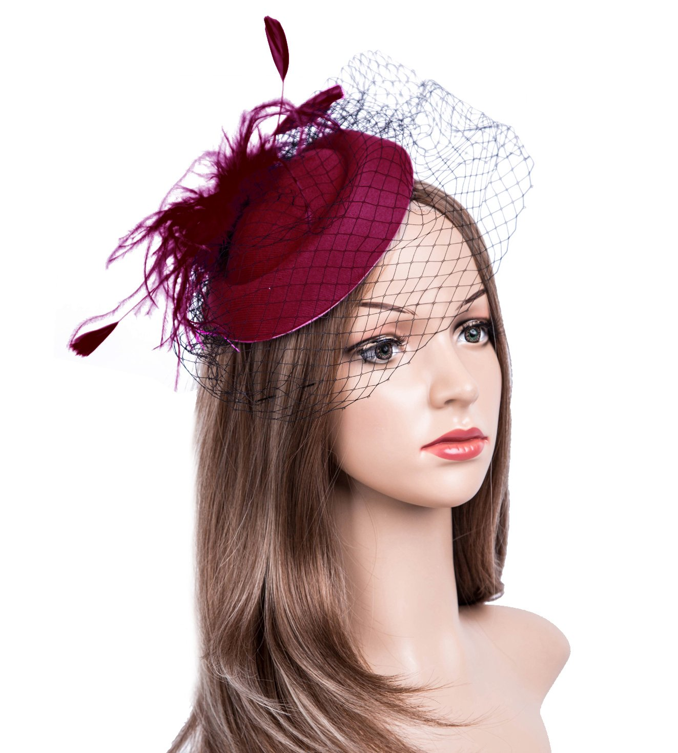Cizoe Fascinators Hats 20s 50s Hat Pillbox Hat Cocktail Tea Party Headwear with Veil for Girls and Women (B-Burgundy)