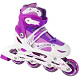 Kids Adjustable Inline Skates Roller Blade Scale Sports Outdoor Durable Perfect First Skates 6032 Purple Large