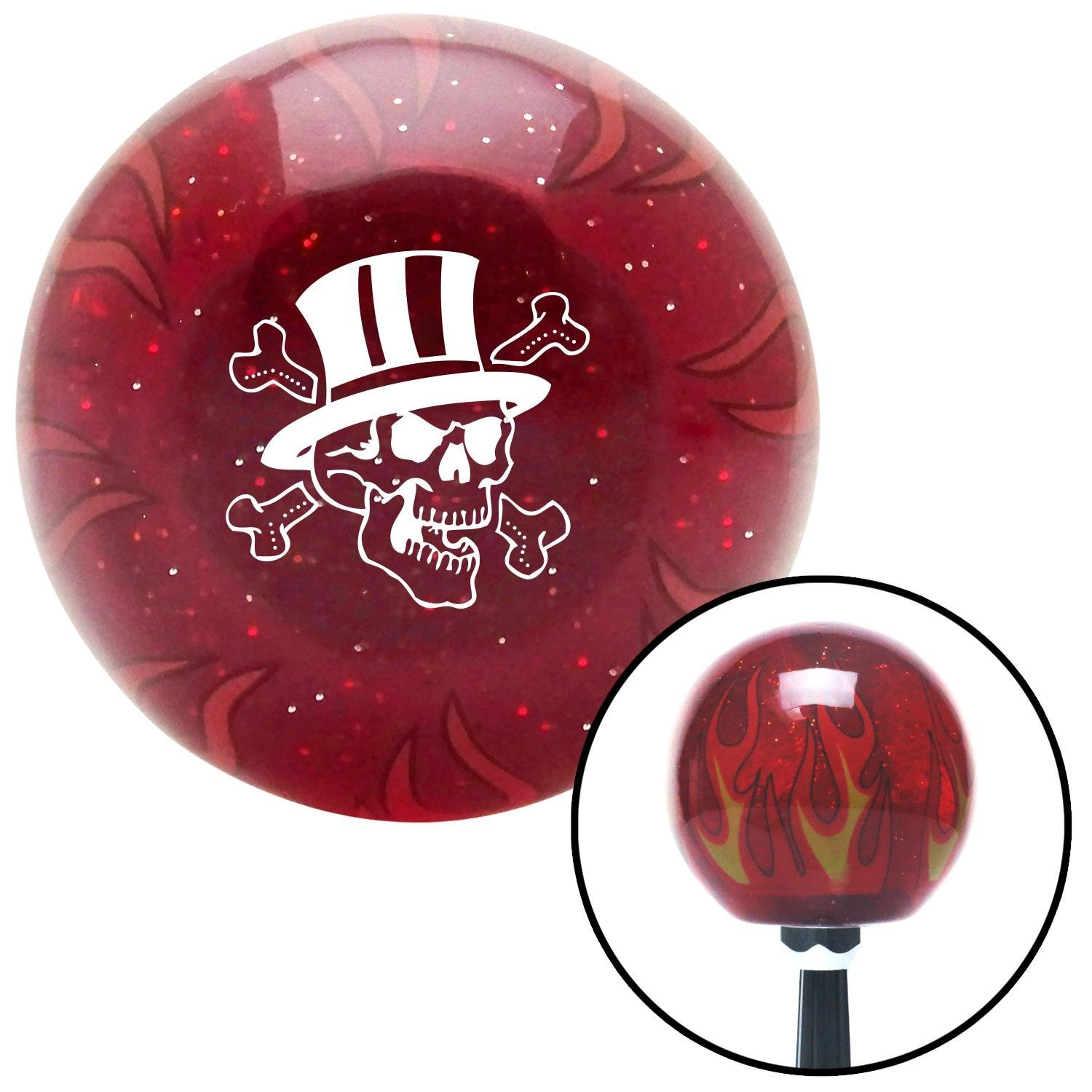 White Skull 4 American Shifter 243382 Red Flame Metal Flake Shift Knob with M16 x 1.5 Insert