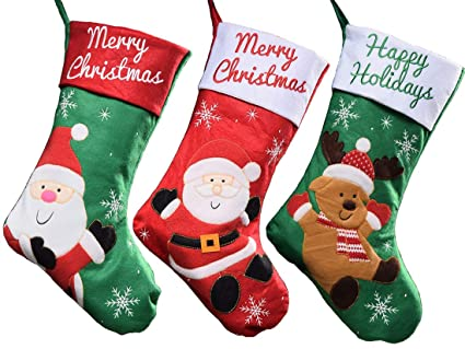 Amazon.com iShyan Set of 3 Christmas Stockings 17.7 inch