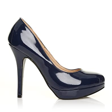 dd4723ea38d71b ShuWish UK - Chaussures à Talons Hauts EVE Bleu Marine Cuir PU Vernis  Stiletto Compensé -