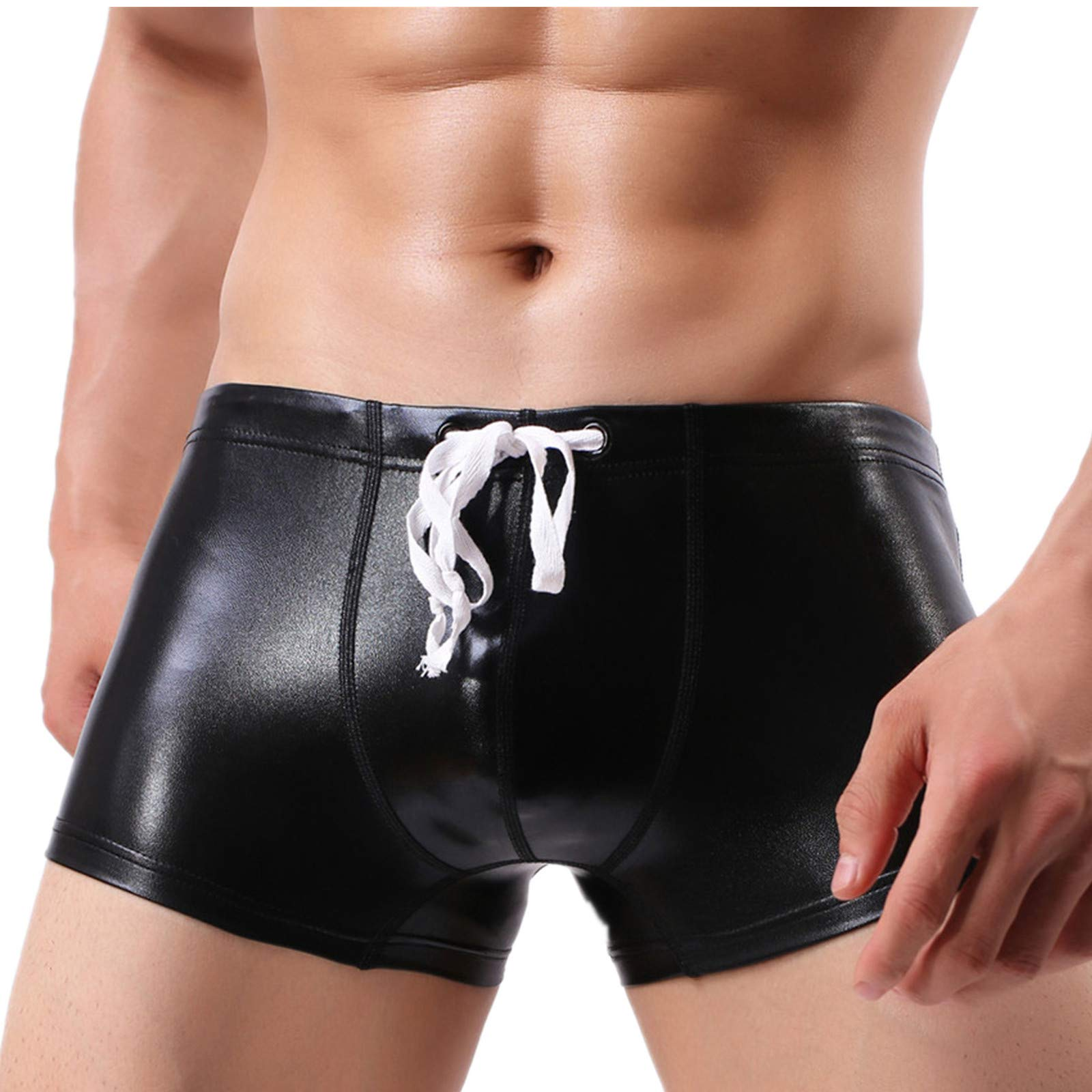 PASATO Sexy Men's Bright Leather Swimming Trunks Beachwear Underwear Surf Boardshorts (Black, L)
