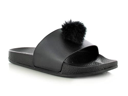 37e2f58d13df6 Womens Faux Fur Pom Pom Wide Strap Thick Comfy Sponge Platform Sole Slip On Slider  Sandals Shoe Sizes 3 - 8 UK  Amazon.co.uk  Shoes   Bags
