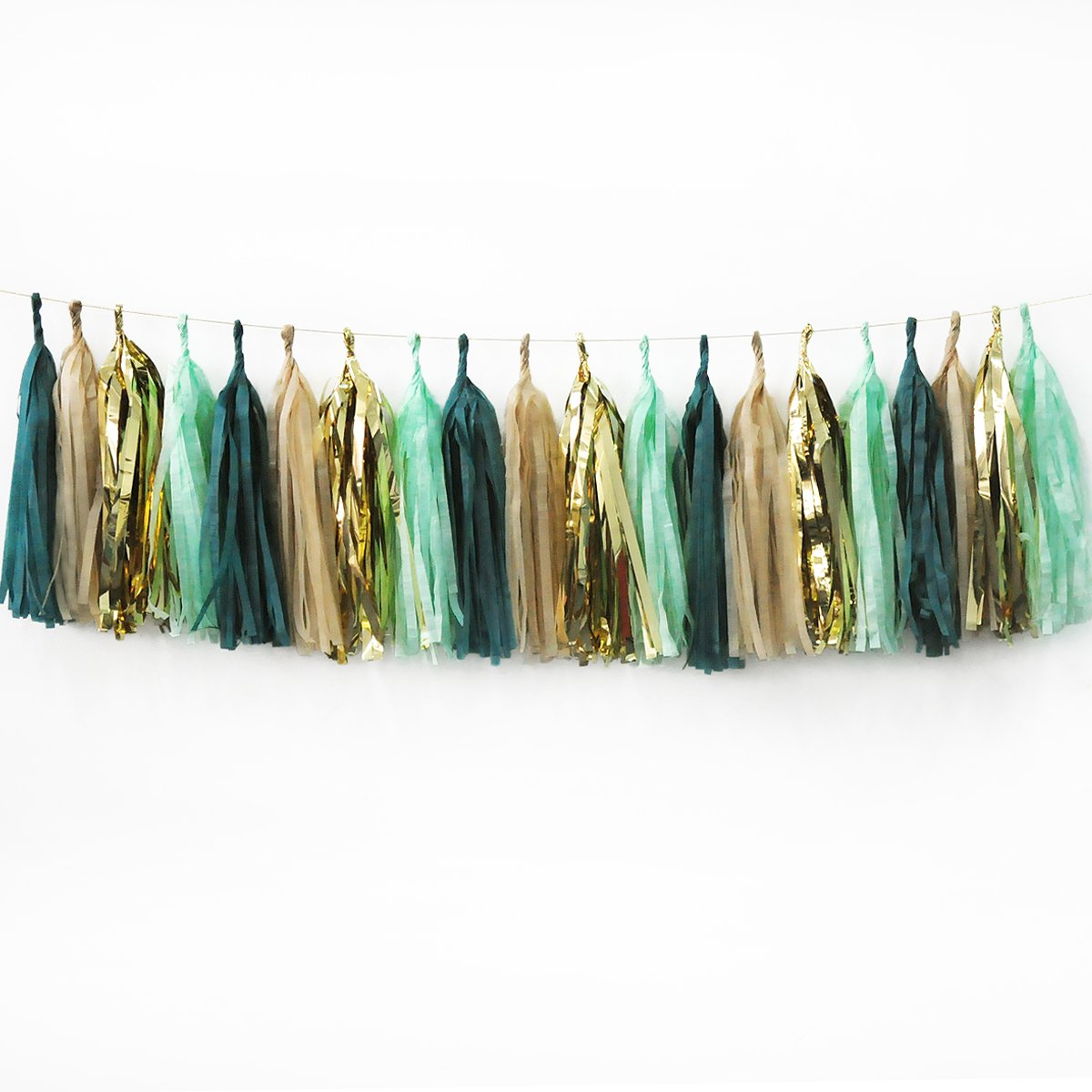 NICROLANDEE 20Pcs Party Garlands Sage Green Champagne Gold and Teal Tassel Garland For Eucalyptus Baby Shower Teal Wedding Decor Bridal Shower High Chair Banner Birthday Gender Neutral Decorations