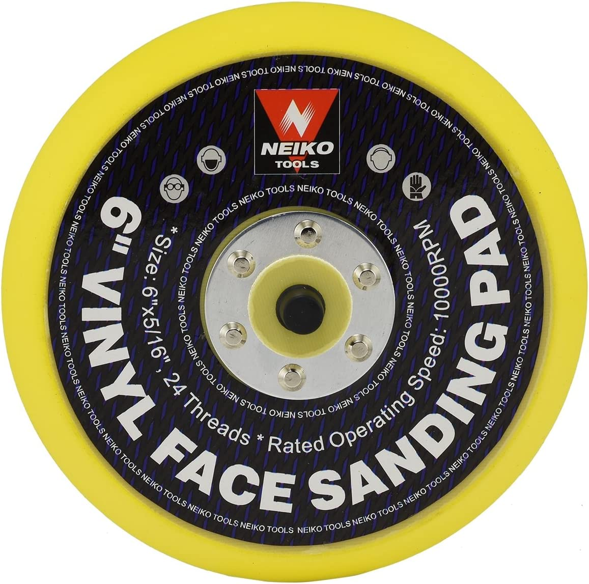 """Neiko 30262A 6"""" Vinyl Face Sanding and Backing Pad, 5/16 Inch 24 Thread Mount Disc 
