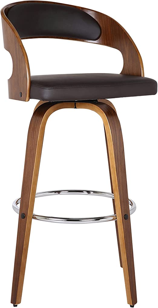 Amazon Com Armen Living Shelly 26 Counter Height Barstool In Brown Faux Leather And Walnut Wood Finish Furniture Decor
